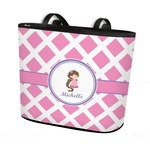 Diamond Print w/Princess Bucket Tote w/ Genuine Leather Trim (Personalized)
