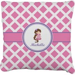 Diamond Print w/Princess Burlap Throw Pillow (Personalized)
