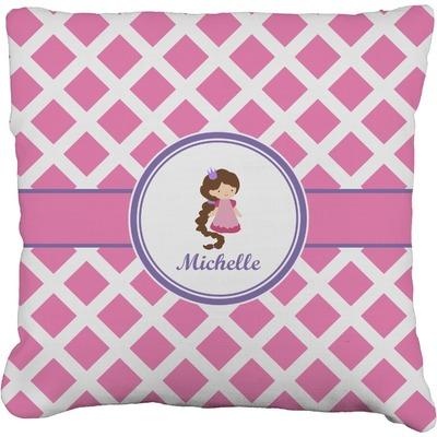 Diamond Print w/Princess Faux-Linen Throw Pillow (Personalized)