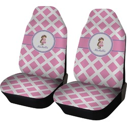 Diamond Print w/Princess Car Seat Covers (Set of Two) (Personalized)