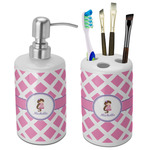 Diamond Print w/Princess Bathroom Accessories Set (Ceramic) (Personalized)