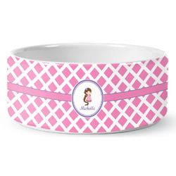 Diamond Print w/Princess Ceramic Pet Bowl (Personalized)