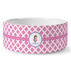 Diamond Print w/Princess Ceramic Dog Bowl (Personalized)