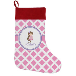 Diamond Print w/Princess Holiday Stocking w/ Name or Text