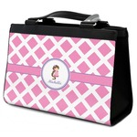 Diamond Print w/Princess Classic Tote Purse w/ Leather Trim (Personalized)
