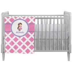 Diamond Print w/Princess Crib Comforter / Quilt (Personalized)