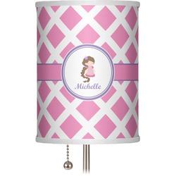 """Diamond Print w/Princess 7"""" Drum Lamp Shade (Personalized)"""