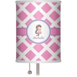 "Diamond Print w/Princess 7"" Drum Lamp Shade (Personalized)"