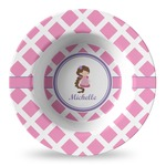 Diamond Print w/Princess Plastic Bowl - Microwave Safe - Composite Polymer (Personalized)