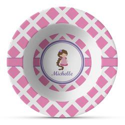 Diamond Print w/Princess Plastic Bowl - Microwave Safe - Composite Polymer (Personalized)