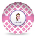 Diamond Print w/Princess Microwave Safe Plastic Plate - Composite Polymer (Personalized)