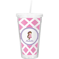 Diamond Print w/Princess Double Wall Tumbler with Straw (Personalized)