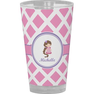 Diamond Print w/Princess Drinking / Pint Glass (Personalized)