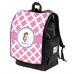 Diamond Print w/Princess Backpack w/ Front Flap  (Personalized)
