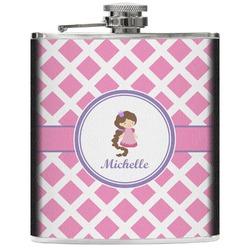 Diamond Print w/Princess Genuine Leather Flask (Personalized)