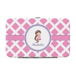 Diamond Print w/Princess Genuine Leather Small Framed Wallet (Personalized)