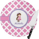 Diamond Print w/Princess Round Glass Cutting Board (Personalized)