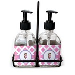 Diamond Print w/Princess Soap & Lotion Dispenser Set (Glass) (Personalized)