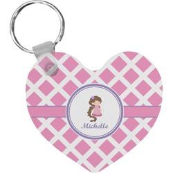 Diamond Print w/Princess Heart Keychain (Personalized)