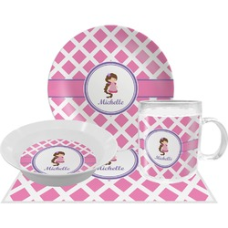 Diamond Print w/Princess Dinner Set - 4 Pc (Personalized)