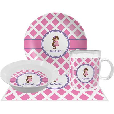 Diamond Print w/Princess Dinner Set - 4 Pc (Personalized)