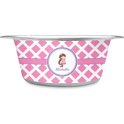 Diamond Print w/Princess Stainless Steel Pet Bowl (Personalized)