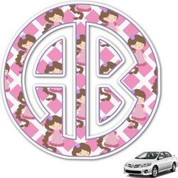 Diamond Print w/Princess Monogram Car Decal (Personalized)