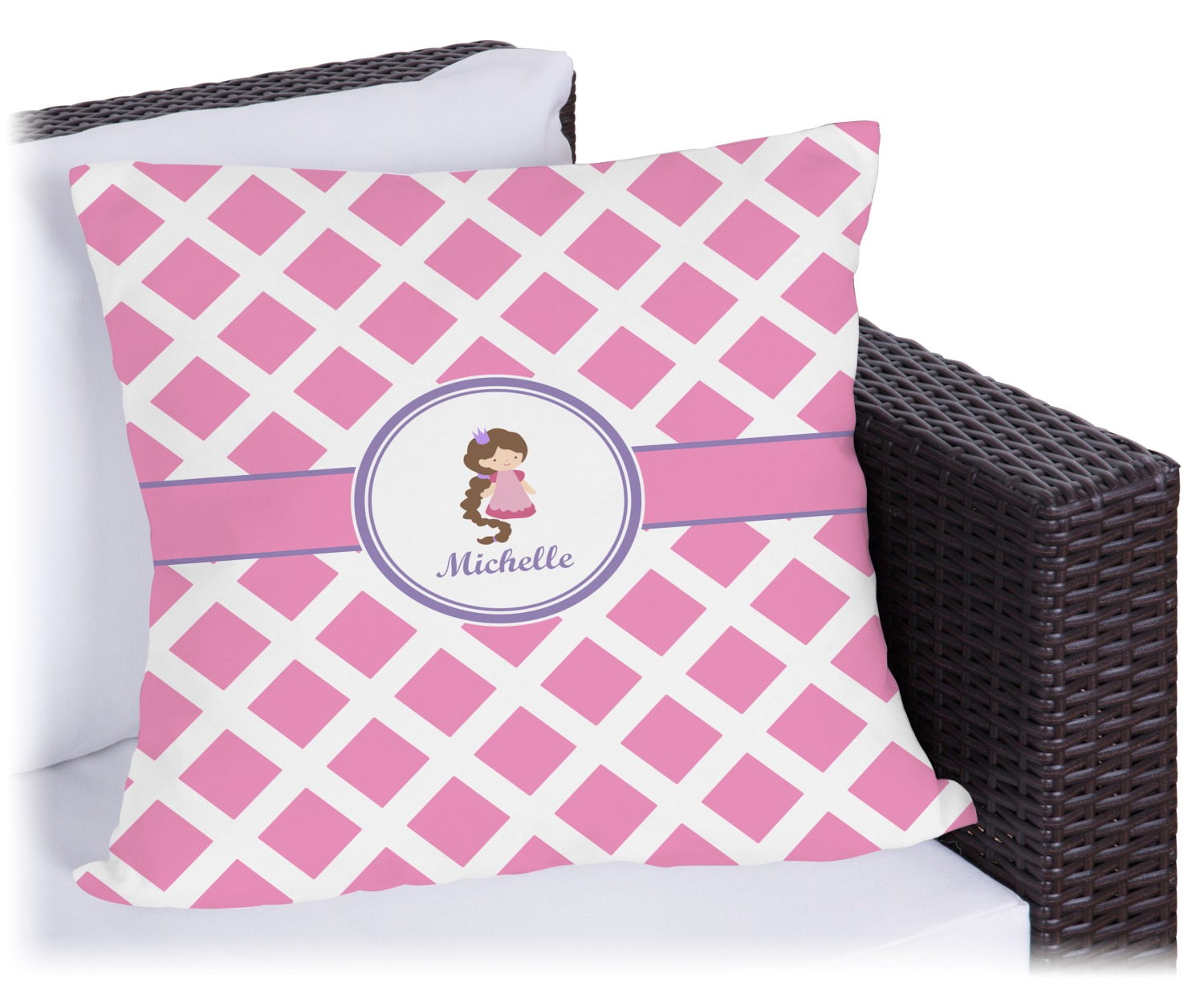 8b893a6372a Diamond Print w/Princess Outdoor Pillow (Personalized) - YouCustomizeIt