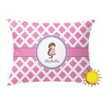 Diamond Print w/Princess Outdoor Throw Pillow (Rectangular) (Personalized)