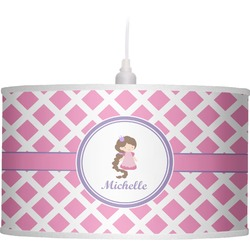 Diamond Print w/Princess Drum Pendant Lamp Linen (Personalized)