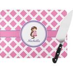 Diamond Print w/Princess Rectangular Glass Cutting Board (Personalized)
