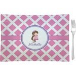 Diamond Print w/Princess Glass Rectangular Appetizer / Dessert Plate - Single or Set (Personalized)