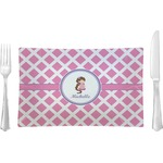 Diamond Print w/Princess Glass Rectangular Lunch / Dinner Plate - Single or Set (Personalized)