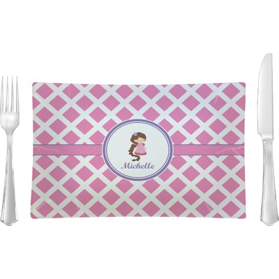 Diamond Print w/Princess Rectangular Glass Lunch / Dinner Plate - Single or Set (Personalized)