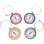 Diamond Print w/Princess Wine Charms (Set of 4) (Personalized)