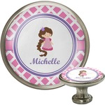 Diamond Print w/Princess Cabinet Knob (Silver) (Personalized)