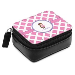 Diamond Print w/Princess Small Leatherette Travel Pill Case (Personalized)