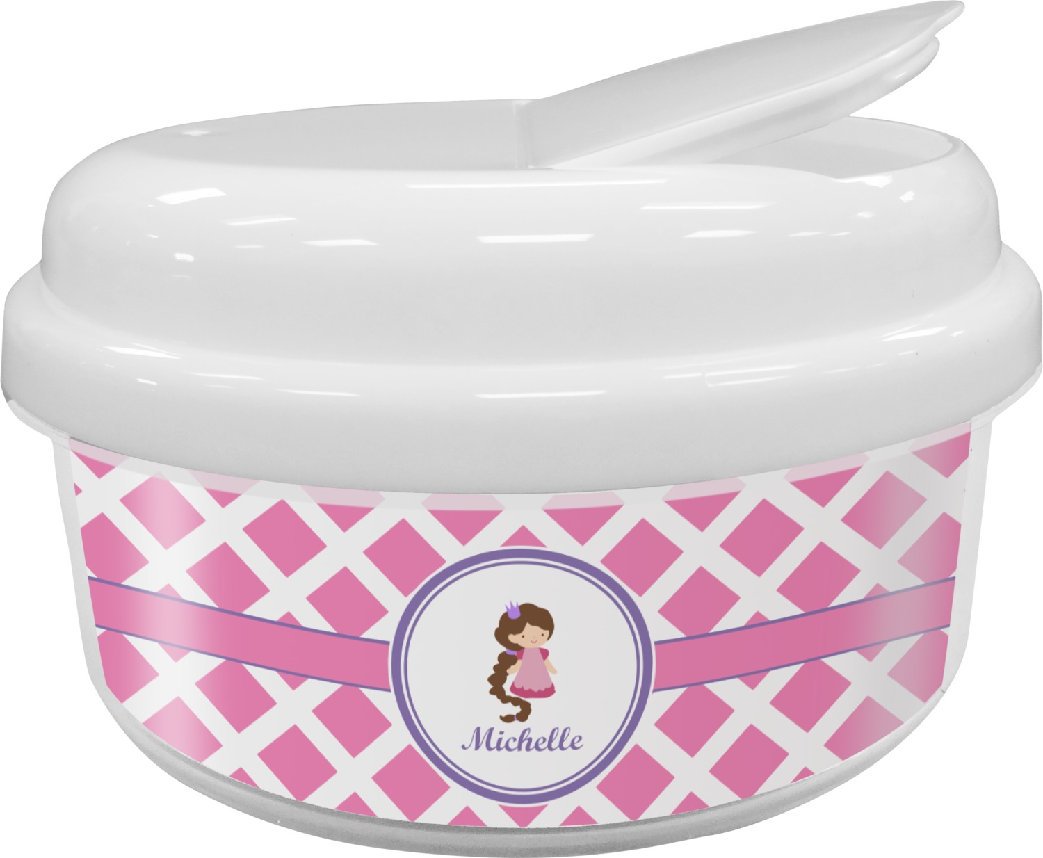 Diamond Print wPrincess Snack Container Personalized YouCustomizeIt