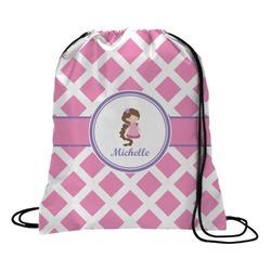 Diamond Print w/Princess Drawstring Backpack (Personalized)
