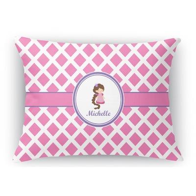 Diamond Print w/Princess Rectangular Throw Pillow Case (Personalized)