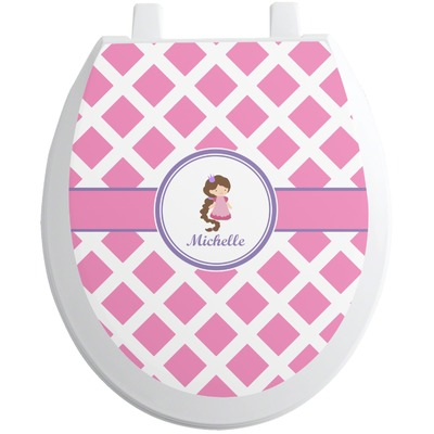 Diamond Print w/Princess Toilet Seat Decal (Personalized)