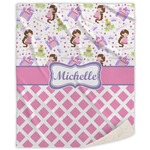 Princess & Diamond Print Sherpa Throw Blanket (Personalized)
