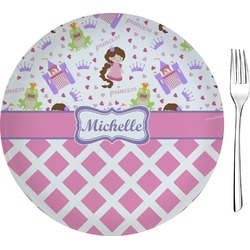 "Princess & Diamond Print Glass Appetizer / Dessert Plates 8"" - Single or Set (Personalized)"