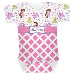 Princess & Diamond Print Baby Bodysuit (Personalized)