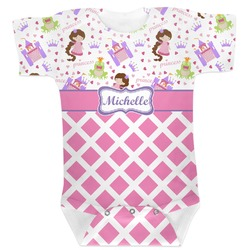 Princess & Diamond Print Baby Bodysuit (Personalized)