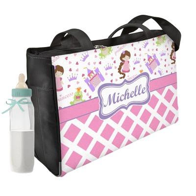 Princess & Diamond Print Diaper Bag w/ Name or Text