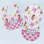 Princess & Diamond Print Baby Bib & Burp Set w/ Name or Text