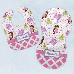 Princess & Diamond Print Baby Bib & Burp Set w/ Name or Text