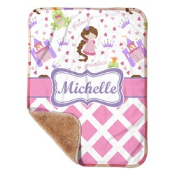 "Princess & Diamond Print Sherpa Baby Blanket 30"" x 40"" (Personalized)"