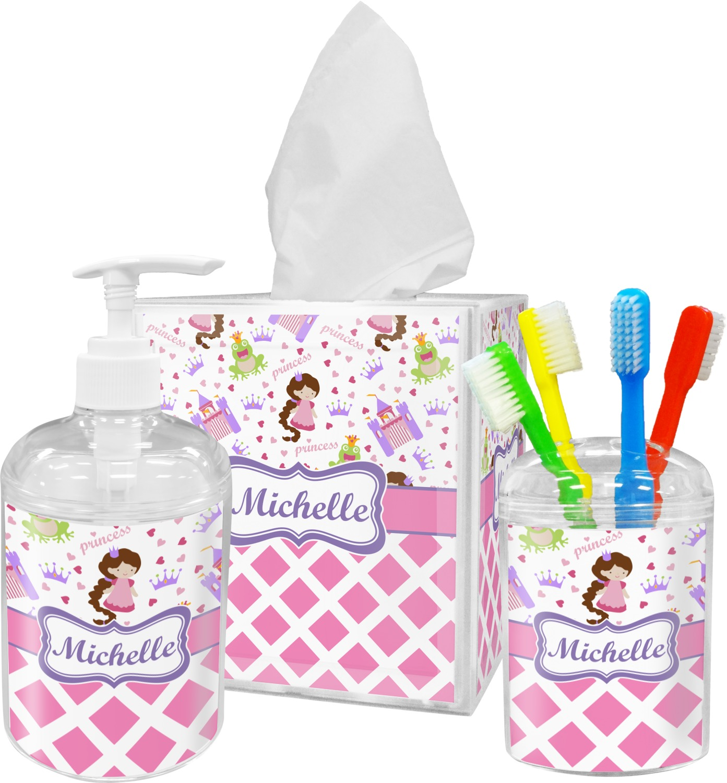 Princess & Diamond Print Bathroom Accessories Set (Personalized ...